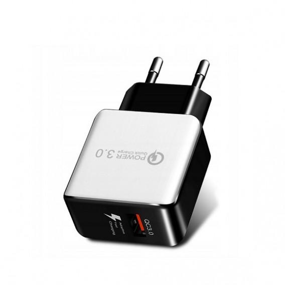 Адаптер 220V->USB QC-808 QC 3.0(5V-2,4A;9V-1,8A;12V-1,5A)