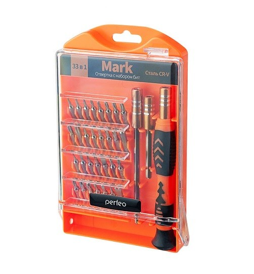 Отвертка с набором бит (33 насадки) Perfeo Mark