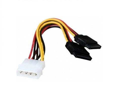 Кабель питания SATA Molex (4pin,БП) 2хSATA (на 2 устройства) 15см Gembird