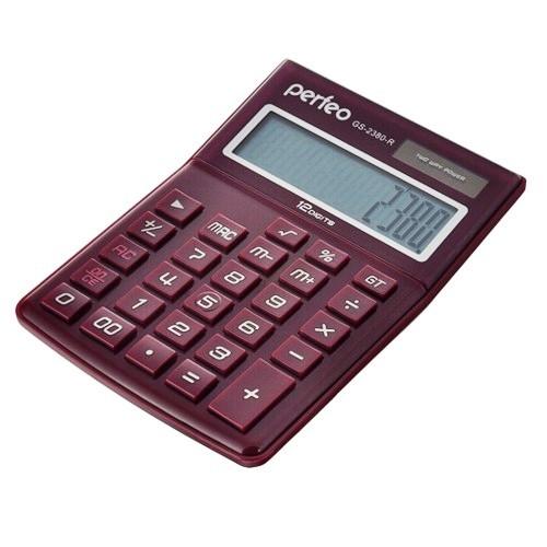 Калькулятор Perfeo GS--2380R бухгалтерский (12 разряд) красный