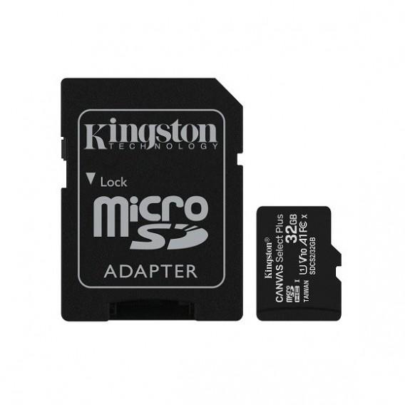 Карта памяти microSDHC Kingston 32Gb Class10 CanvasSelect Plus A1 с адапт