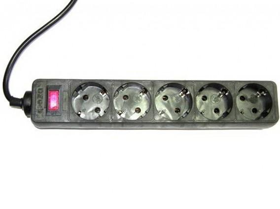 Сетевой фильтр ФАZA FOP-05GS-500 черный (5 роз, 5м, 10А)