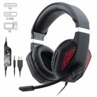 Наушники PS4-480 игровые с микрофоном красные (джек 4pin)