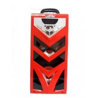 Колонка портативная CN-S968FM (USB /SD/FM/дисплей/пульт) красная