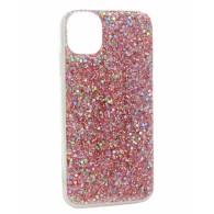 Чехол для iPhone 11 розовый (блестки)
