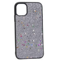 Чехол для iPhone 11 серебро (блестки)