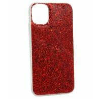 Чехол для iPhone 11 красный (блестки)
