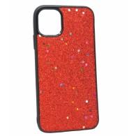 Чехол для iPhone 11 Pro красный (блестки)
