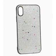 Чехол для iPhone X\XS серебро (блестки)