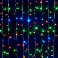 Эл. штора 240 LED цветная, 1,5х1,5м прозр. шнур