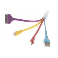 Кабель USB->3 переходника Luazon (IP5\IP4\microUSB) (155885)
