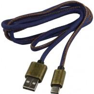 Кабель USB- Type-C SmartBuy 1,2м (iK-3112 blue jeans) джинсовый
