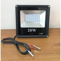 """Прожектор-переноска 20W светодиодный, 12V, зажимы """"крокодилы"""", провод 3м"""