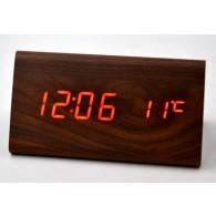 Часы настольные VST-861-1 крас.цифры, корич.корпус(дата,темп., будильник,4*ААА)
