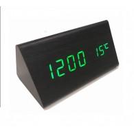 Часы настольные VST-861-4 зел.цифры, чер.корпус (дата,темп., будильник,4*ААА)