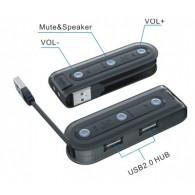 Хаб USB Orient AU-01U2 (2USB + USB->2jack 3,5)