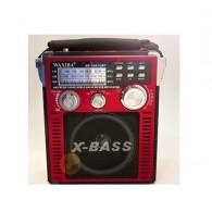 Радиоприемник XB-1051 (USB/SD/FM/акб/4*R20/фонарь) красный Waxiba
