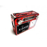 Радиоприемник M-U35 (USB+microSD,фонарь,часы) красный