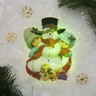 """Световая картинка на присоске """"Снеговик"""", разноцв (2364021)"""