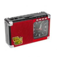 Радиоприемник М-202U (USB/microSD/AUX/акб 18650/часы) красный Meier