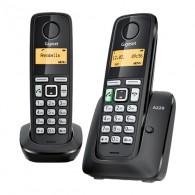Телефон беспроводной Gigaset A220 черный (2 трубки)