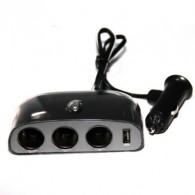 Разветвитель в авто на 3 устройства +USB со шнуром (Act-wf-0032)