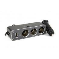 Разветвитель в авто на 3 устройства с USB со шнуром(Act-wf-0096)