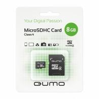 Карта памяти microSDHC Qumo 8GB Class 4 с адаптером