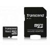 Карта памяти microSDHC Transcend 16GB Class 4 с адаптером