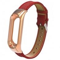Ремешок для фитнес-браслета Mi3\Mi4 кожаный красный