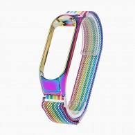 Ремешок для фитнес-браслета Mi3\Mi4 металл радуга (тонкое плетение)