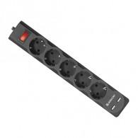 Сетевой фильтр Defender DFS -751 (2*USB, 5 роз, 1,8 м, 2.1А) (99751)