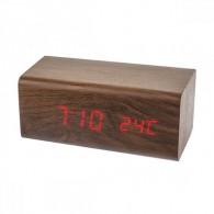 """Часы электронные Perfeo """"Block"""" крас.цифры, корич.корпус (темп.будильник, 3ААА)"""