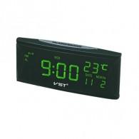 Часы электронные 719W (220V+2*ААА, зел.цифры) (время, дата, темп)
