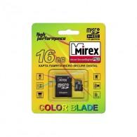 Карта памяти microSDHC Mirex 16GB Class 4 с адаптером