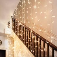 Эл. штора 300 LED теплый белый, 3х3м прозр. шнур