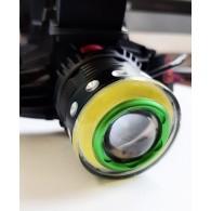 Фонарь аккум.налобный 3W+COB+линза (2*18650, 220V+12V)