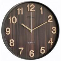 Часы настенные круглые темное дерево (1АА)