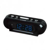 Часы настольные VST-716-5 син.цифры, чер.корпус (дата, темп., будильник,4*ААА)