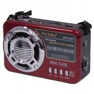 Радиоприемник XB-54URT (USB/SD/microSD/Fm/AUX/фонарь/акб.18650)красный Waxiba