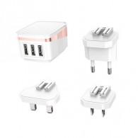 Адаптер 220V->3*USB 2.4A HOCO (C83)