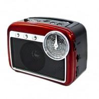 Радиоприемник HN-285 (Fm/USB/microSD/акб/фонарь/PowerBank) красный Haoning
