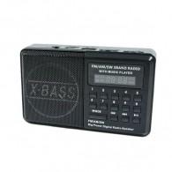 Радиоприемник HN-S180LED (USB/microSD/акб 18650/часы) черный Haoning