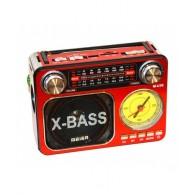 Радиоприемник M-U36 (USB+microSD,фонарь,часы) красный