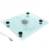 Подставка-вентилятор для ноутбука 1 кулер прозрачная (1527332)