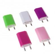 Адаптер 220V->USB 1A цветной плоский (542841)