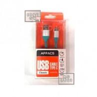 Кабель USB- Type-C APPACS AP03153a (5v, 2.1A) 1м