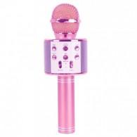Микрофон со встр.колонкой для караоке (microSD, Bluetooth) WS-858 розовый