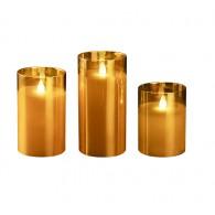 Комплект свечей Фаzа CL7-SET3-gd 3 восковые LED-свечи в стекл. корпусе золот.