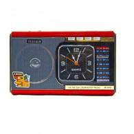 Радиоприемник М-U40 (Fm/microSD/AUX/акб/2*R20/часы/фонарь) красный Meier